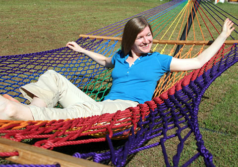 Rainbow Traditional Rope Hammock