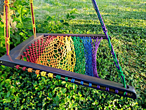 Rainbow Purple Haze Hanging Chair close-up