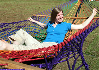 Family Sized Rainbow Rope Hammock